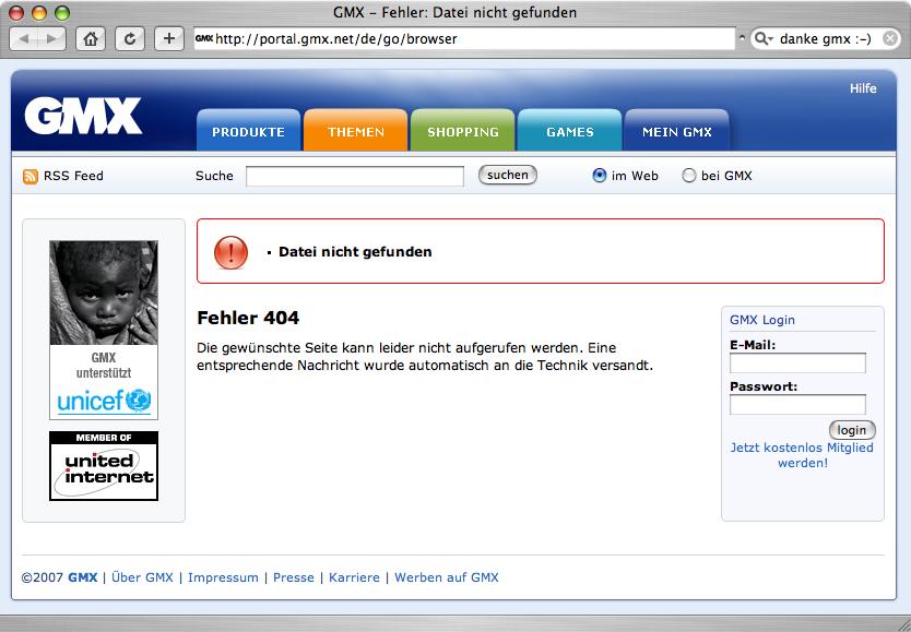 fehler 404 datei nicht gefunden