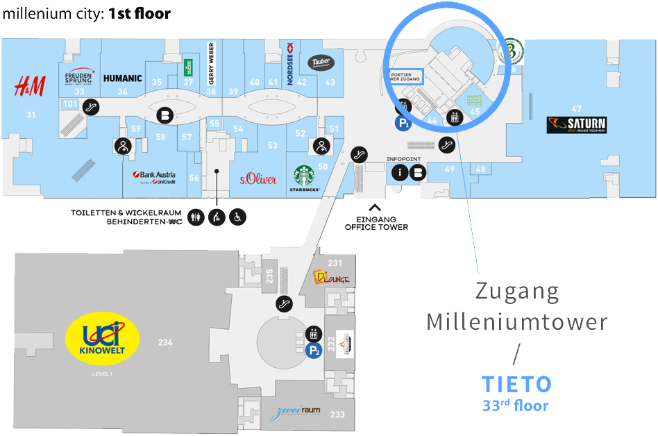 how to get to tieto on the 33rd floor of millenium tower: via an elevator near the porter on the 1st floor of millenium city