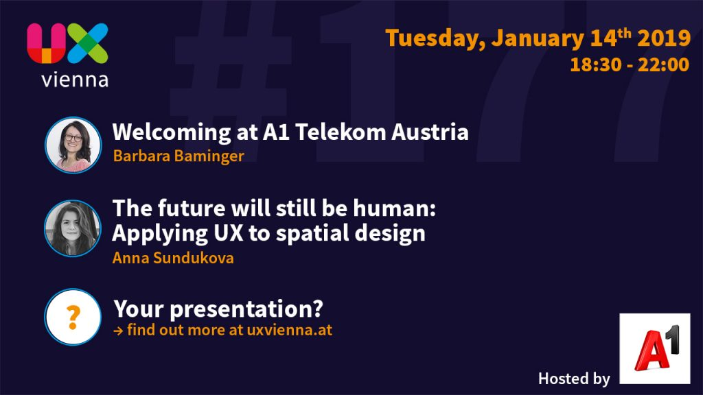 Invitation to 181st UX Vienna Meetup. Content can be read below the image.